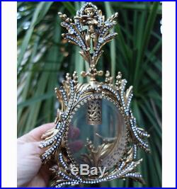 Ormolu Vintage Vanity JEWELED Gilt Perfume Bottle Matson glass cherub Bird leafs