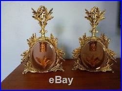 Pair Vintage Perfume Bottles Cherub Ormolu French Style Filagree Vanity Set