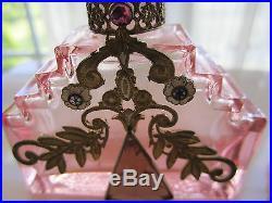 Pink Vtg Czech Perfume Bottle with Gems