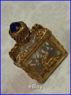 RARE Exquisite Antique Czech VTG. Art Deco Perfume Bottle Gilt Czechoslovakia