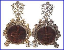 RARE Pair Ormolu Goddess Cherub Perfume Bottles Vtg Vanity Rose Glass Matson Era