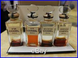 RARE VINTAGE CHANEL #2707 4 bottles no 5, no 22, bois des iles, cuir de russie