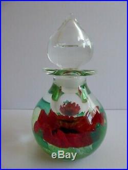 RARE VINTAGE Caithness Ltd Ed ART GLASS'REMEMBRANCE SUNDAY' Poppy SCENT BOTTLE