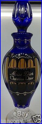 Rare Vintage Christian Dior Miss Dior Baccarat Blue Crystal Perfume Bottle