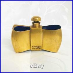 Rare Vintage Guerlain Coque D'or Bow Tie Baccarat Perfume Scent Bottle 1937