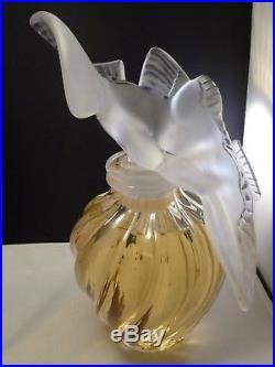 Signed Vintage Lalique Two Doves Perfume Bottle for L'Air du Temps by Nina Ricci