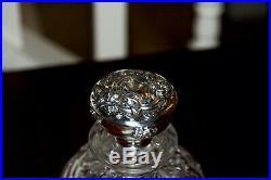Sterling Silver Top & Cut Glass Cologne Bottle Perfume Antique Vintage