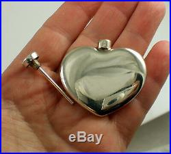 Tiffany & Co Vintage Sterling Silver Heart Perfume Two Piece Bottle & Dabber Jar