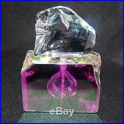 UNREAL Mystic Perfume Bottle STEVEN MASLACH Vtg 90 ArT GLaSs Dichroic Iridescent