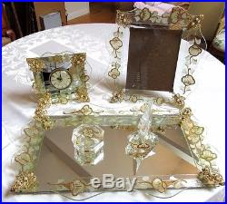 Vintage 50 S Filigree Mirrored Vanity Set Tray Clock