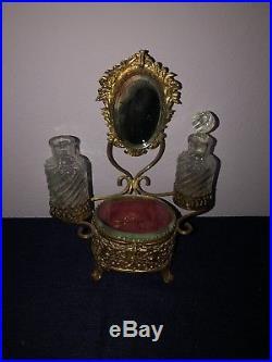 VINTAGE BEVELED GLASS ORMOLU PERFUME BOTTLE TRINKET CASKET BOX STAND WithMIRROR