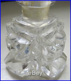 VINTAGE CZECH CUT GLASS Deco CUT CRYSTAL Perfume Bottle W INTAGLIO BLUE STOPPER