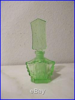Vintage Czechoslovakia Green Crystal Perfume Bottle Nude Woman