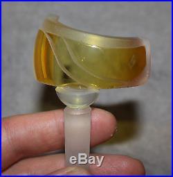 VINTAGE JIM & CONNIE GRANT ART GLASS RARE UNIQUE PERFUME BOTTLE AMBER WithDAUBER