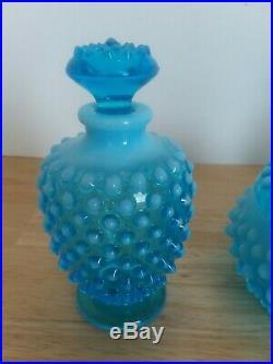 VTG Fenton Hobnail Blue Opalescent Perfume Cologne Vanity Set 6 piece 1940-54