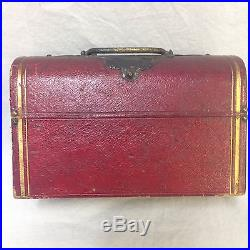 VTG Glass Perfume Bottle Set with 3 Stoppers Box Key Leather Red Case Purple Lined