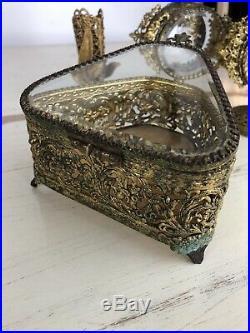 VTG Gold Tone Filigree Ormolu Lot Trinket Box Perfume Bottles Candle Holder Set