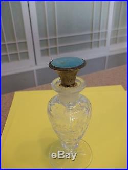VTG HEISEY Perfume Bottle Floral Cut Glass Design Guilloche Enamel & Sterling