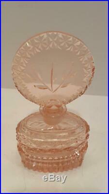 VTG Lrg. Czech Pink Perfume Bottle cut glass with DAUBER Intact
