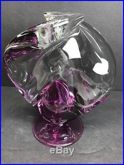 VTG M. Michael Trimpol Studio Art Glass Purple Perfume Bottle With Dauber Signed