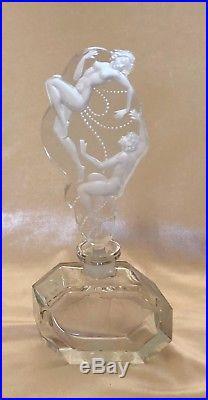 VTG Pesnicak Art Deco Intaglio Czech Crystal Perfume Bottle 9 Art Nouveau Nudes