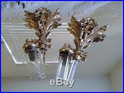 VTG VANITY SET Gilded Cherub Ormolu PERFUME BOTTLES VASE CLOCK TRAY TRINKET BOX