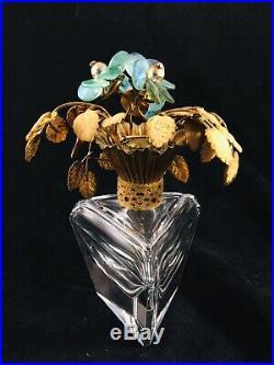 VTG WEST GERMANY Crystal PERFUME Bottle 6 IRICE Rhinestone Flower Gold toneTop