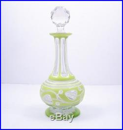 Vintage 1800's Rare Green Double Overlay Perfume Or Cologne Bottle