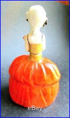 Vintage 1920's Art Deco Porcelain Lady Perfume Bottle, France
