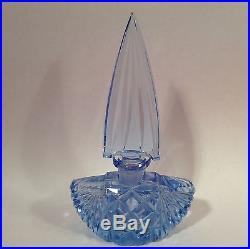 Vintage 1920's Czechoslovakia Blue Crystal Perfume Bottle, gl95