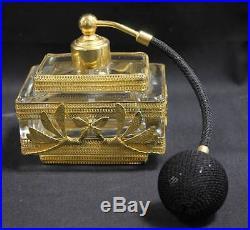 Vintage 3 Piece Vanity Set Glass Gilt Dress Box Perfume Bottle Atomizer