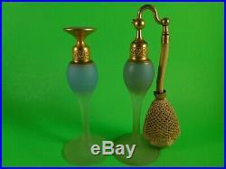 Vintage 6 Tall DeVilbiss Glass Perfume Bottle & Atomizer Set Robin Egg Blue