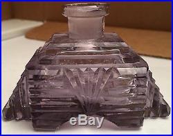 Vintage Amethyst Pyramid Crystal Czechoslovakian Perfume Bottle