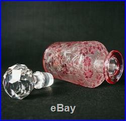 Vintage Antique Baccarat Perfume Bottle Eglantier Red Rose Design with Label