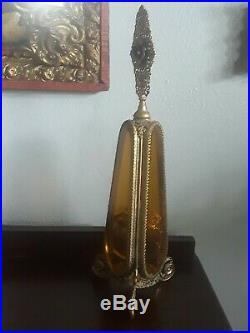 Vintage Antique Gold Filigree Ormolu Beveled Glass Rose Cherub Perfume Bottle