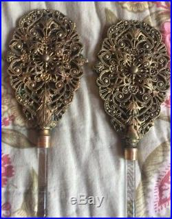 Vintage Antique Pair of Gold Perfume Bottles