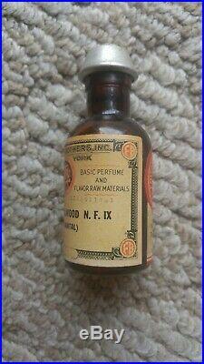 Vintage Antique SANDALWOOD Fritzsche Bros Amber Bottle NEW YORK SANTAL SEALED