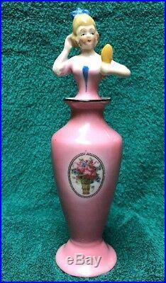 Vintage Art Deco Porcelain Figural Lady Perfume Vanity Bottle Bavaria
