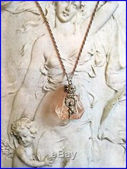 Vintage Art Nouveau French LVP Sterling Cherub Perfume Bottle Pendant Necklace