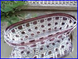 Vintage BACCARAT SET OF (4) Amethyst Purple Cut to Clear Vanity Set, EXCELLENT