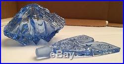 Vintage Blue Cut Crystal Czechoslovakian Perfume Bottle with V-Shaped Stopper