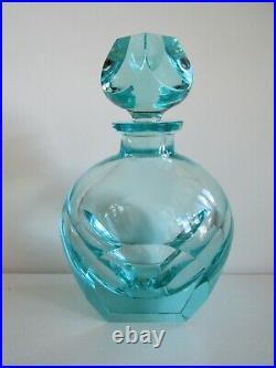 Vintage Bohemian MOSER Karlovy Vary Aquamarine Crystal PERFUME BOTTLE SIGNED
