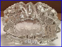 Vintage Clear Cut Crystal Czechoslovakian Perfume Bottle with Stylized M Stopper