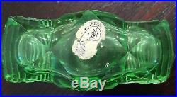 Vintage Czech GREEN crystal perfume bottle and stopper, import label, dauber