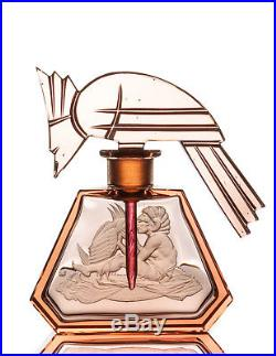 Vintage Czech Glass Hoffman Perfume Bottle with Figural Bird Stopper c. 1920s