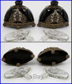 Vintage Czech Glass Perfume Bottle Pair, Enameled Applied Filigree Ball Feet