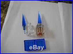 Vintage Czech perfume bottle twin set tray RARE BLUE and crystal with Dobbers