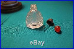 Vintage Czechoslovakia Irice Glass Perfume Bottle with Strawberry Dangle