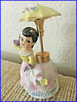 Vintage DEV Devilbiss Lady Perfume Bottle with Girl Umbrella Spray Atomizer