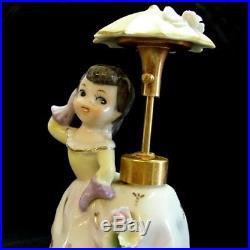 Vintage DEV Lady Perfume Bottle Girl w Umbrella Spray Atomizer